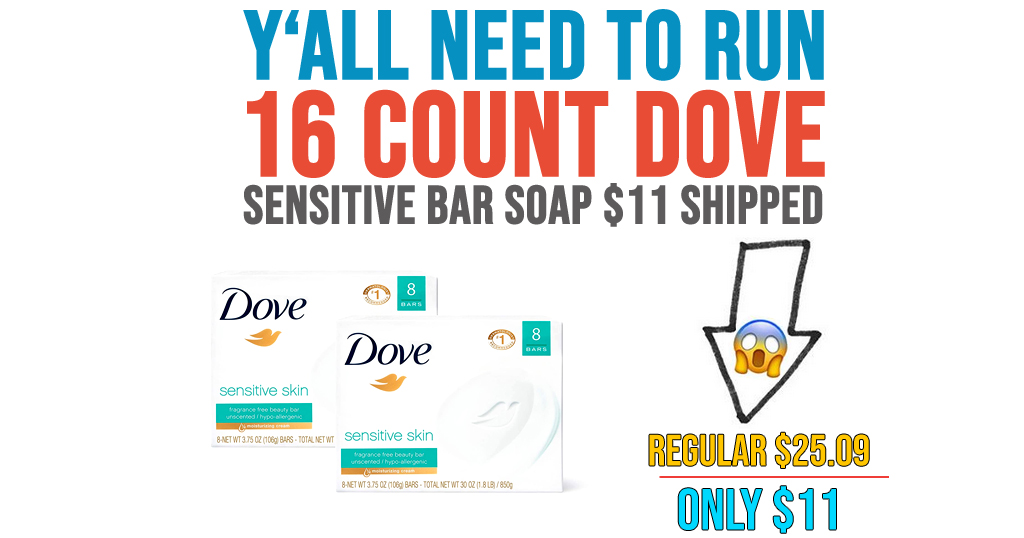 16 Count Dove Sensitive Bar Soap $11 Shipped on Amazon (Regularly $25.09)