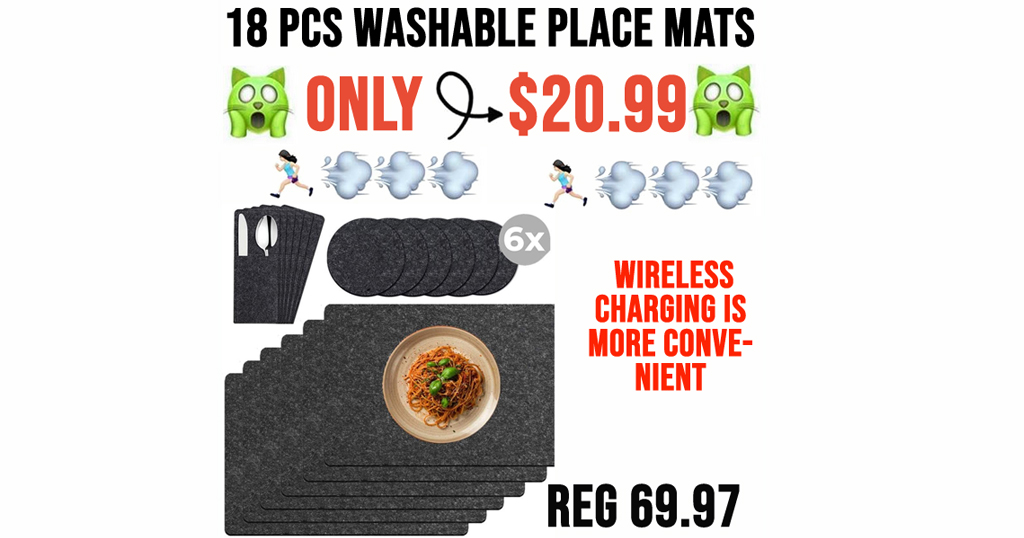 18 PCS Washable Place Mats Only $20.99 Shipped on Amazon (Regularly $69.97)