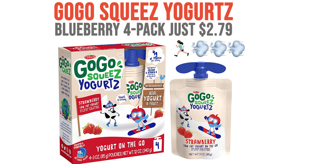 GoGo squeeZ yogurtZ Blueberry 4-Pack Only $2.79 Shipped on Amazon