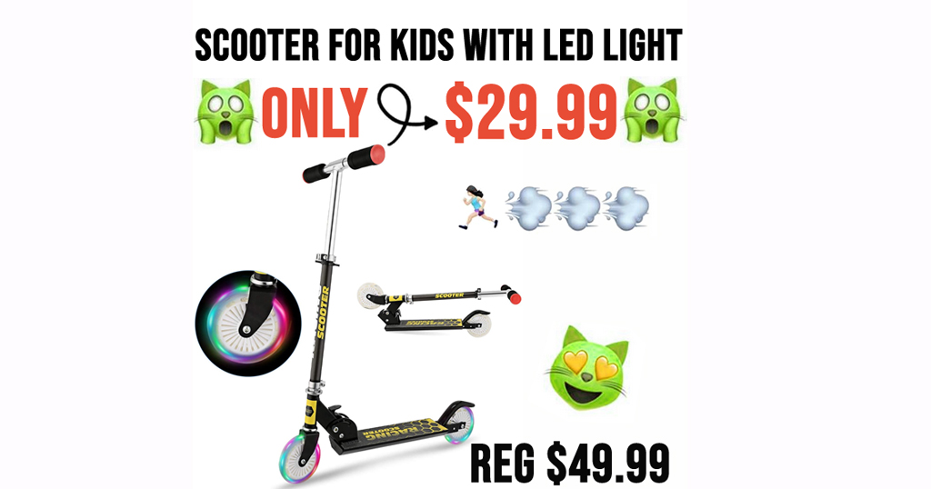 Kick Scooter for Kids with LED Light Only $29.99 Shipped on Amazon (Regularly $49.99)