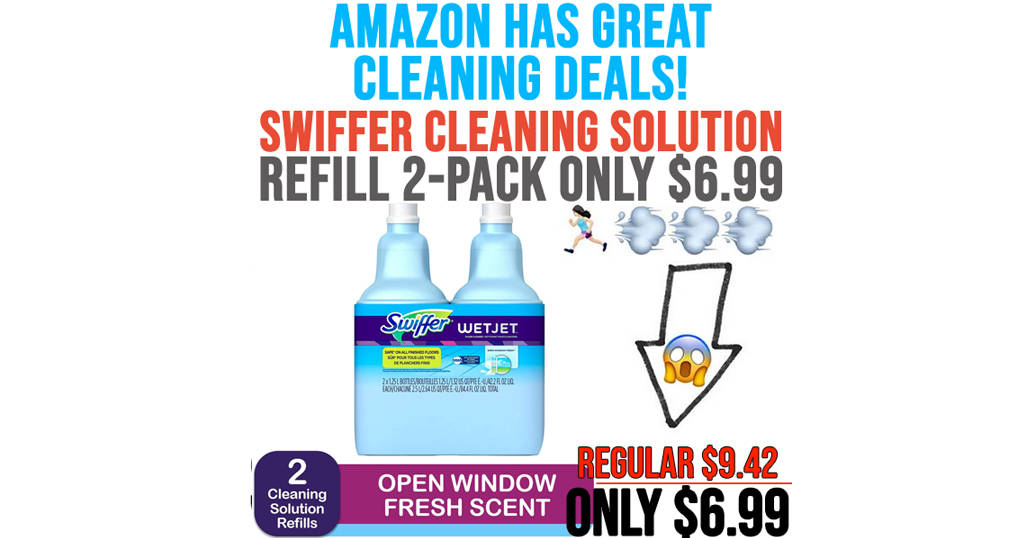 Swiffer Wetjet Cleaning Solution Refill 2-Pack Only $6.99 on Amazon | Just $3.49 Per Bottle