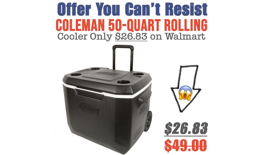 Coleman 50-Quart Rolling Cooler Only $26.83 on Walmart.com (Regularly $49)