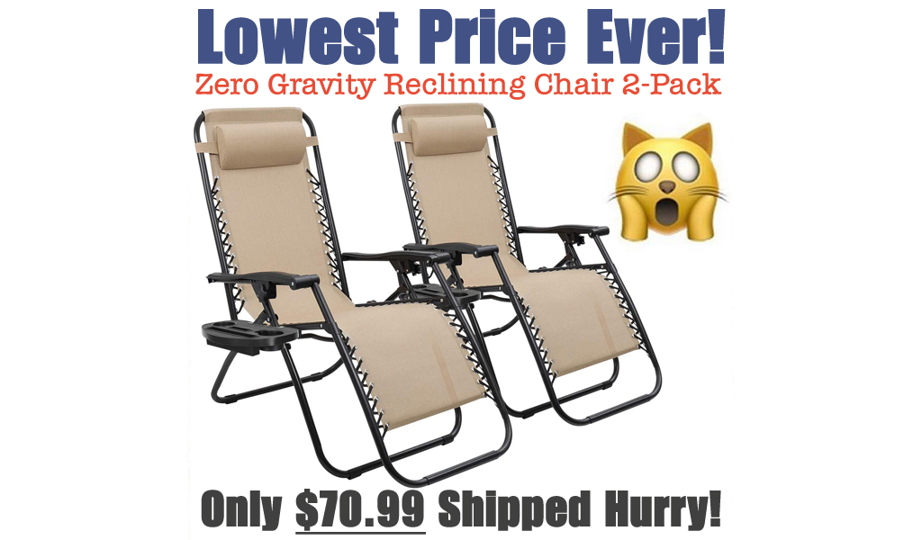 Zero Gravity Reclining Lounge Chair 2-Pack Just $70.99 Shipped on Walmart.com