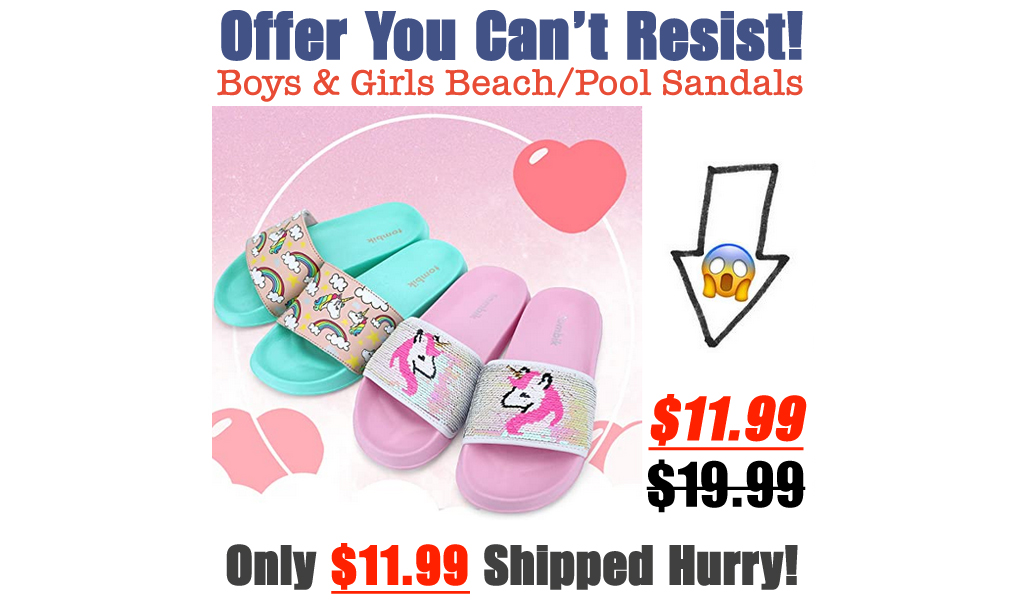 Boys & Girls Beach/Pool Slides Sandals Only $11.99 Shipped on Amazon (Regularly $19.99)