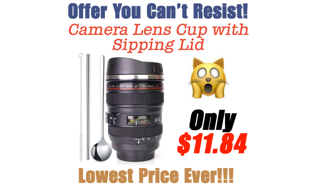 Camera Lens Cup with Sipping Lid Only $11.84 Shipped on Amazon (Regularly $14.80)