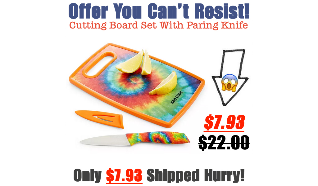 Cutting Board Set With Paring Knife from $7.93 on Macys.com (Regularly $22)