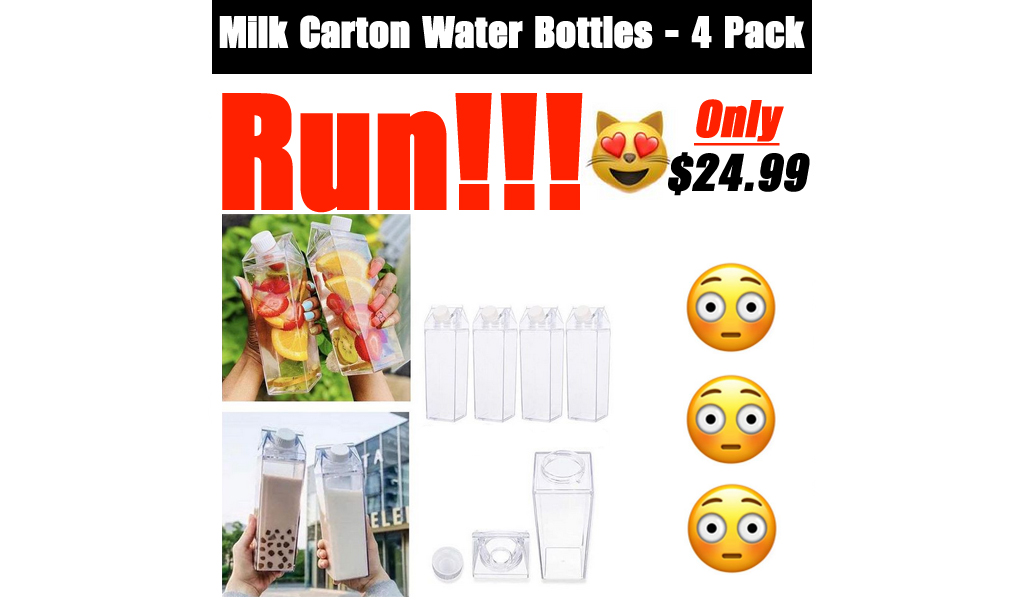 Milk Carton Water Bottles - 4 Pack Only $24.99 Shipped on Amazon