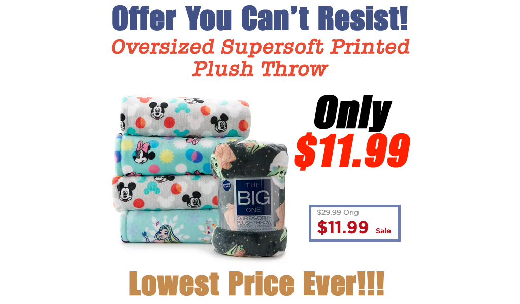Oversized Supersoft Printed Plush Throw Only $11.99 on Kohls.com (Regularly $29.99)