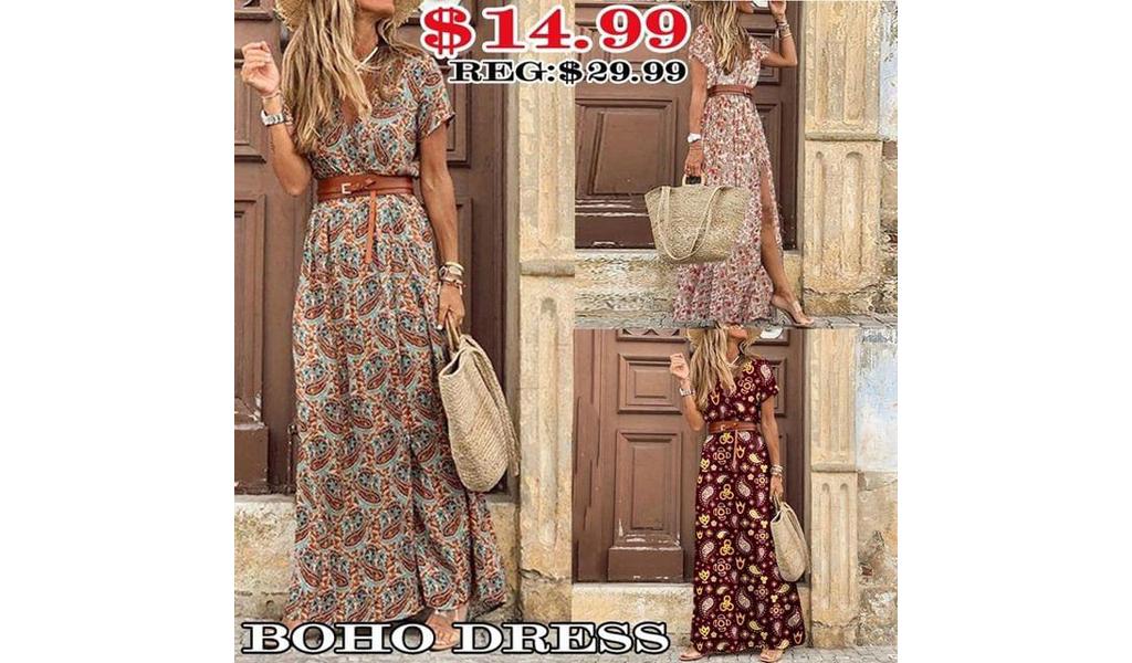 Women Long Boho Dress S-3XL +Free Shipping!