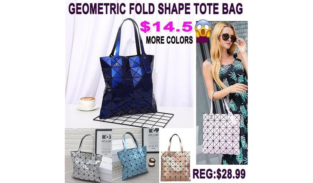 Womens Geometric Fold shape Leather Large Tote Bag +Free Shipping!