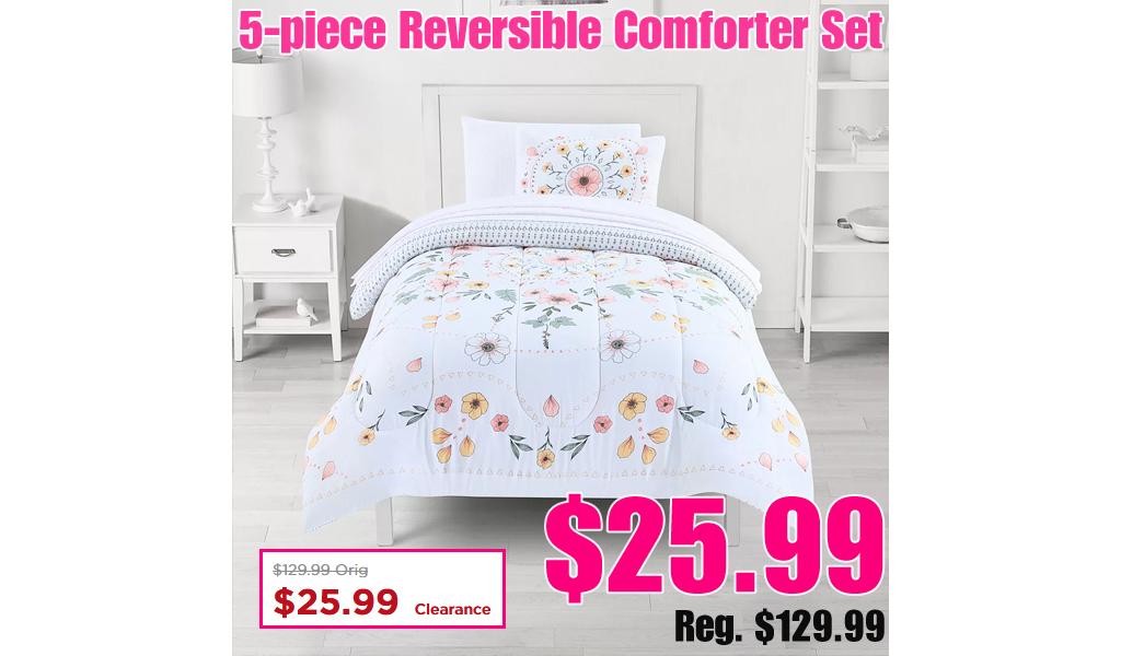 5-piece Reversible Comforter Set Only $25.99 on Kohls.com (Regularly $129.99)