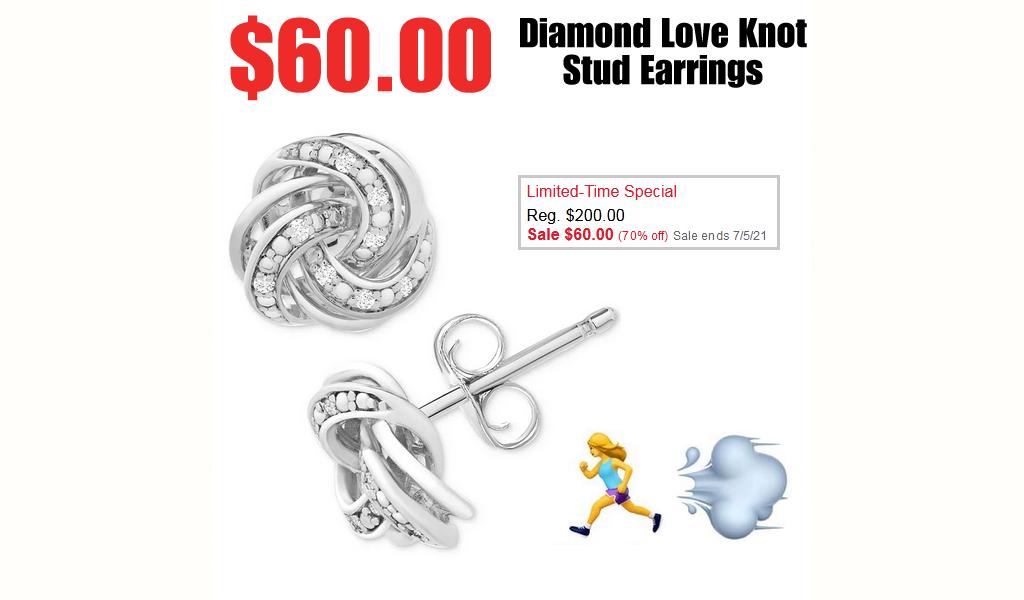 Diamond Love Knot Stud Earrings Only $60.00 on Macys.com (Regularly $200)