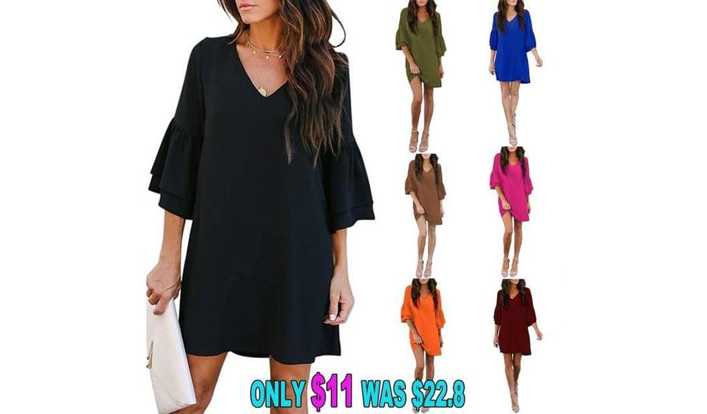 Women Fashion V-Neck Bell Sleeve Shift Dress Mini Dress+Free Shipping!
