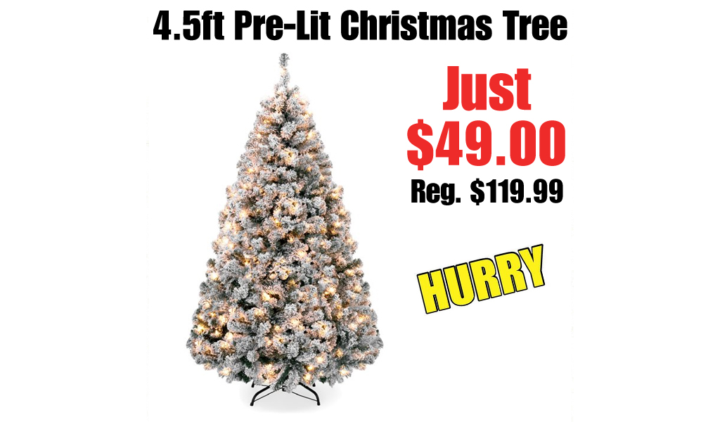 4.5ft Pre-Lit Holiday Christmas Pine Tree w/ Snow Flocked Branches Only $49 Shipped on Walmart.com (Regularly $119.99)