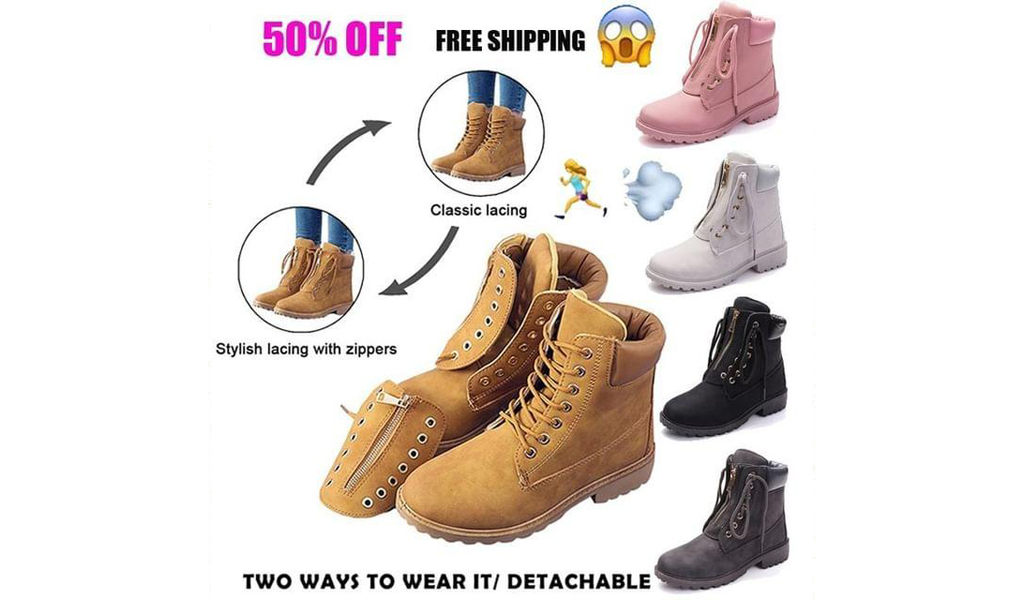 Women's Work Combat Boots Lace Up Low Heel Work Boots Round Toe Waterproof Ankle+Free Shipping